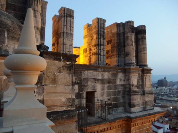 New and old stone side by side on Malaga Cathedral roof