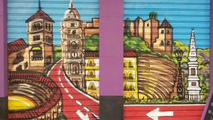 Mural of bike lanes in Malaga