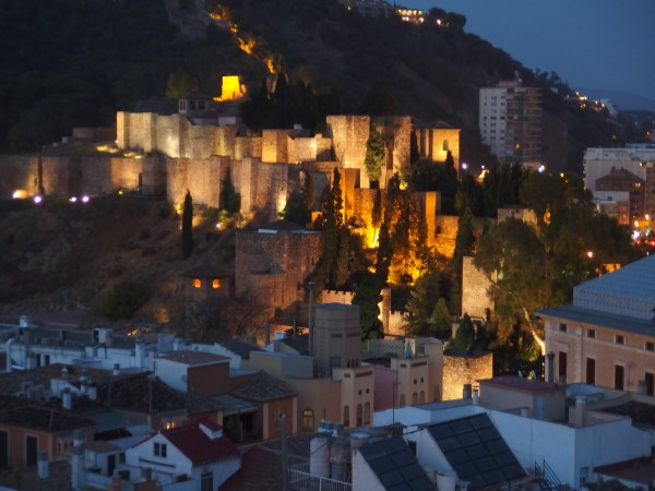 The Alcazaba Fortress at night