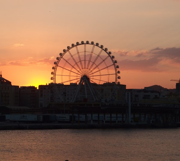 Sunset behind Malaga Wheel