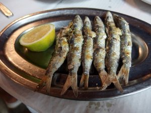 Grilled sardines on the beach in Malaga