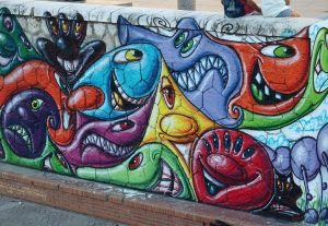Graffiti art, riverside in Malaga