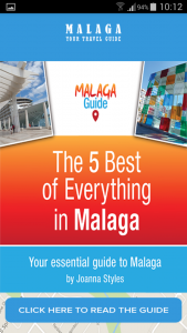 The 'front cover' of the Guide to Malaga app