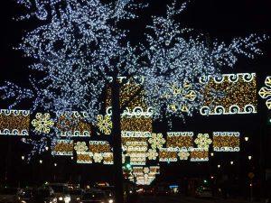 Christmas lights on Paseo del Parque Malaga