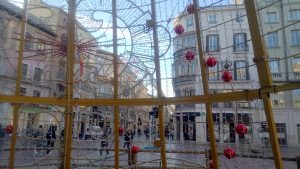 through the Christmas tree on Plaza de la Constitucion