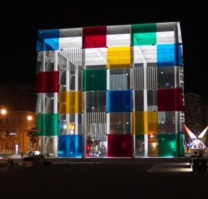 Pompidou cube at night in Malaga