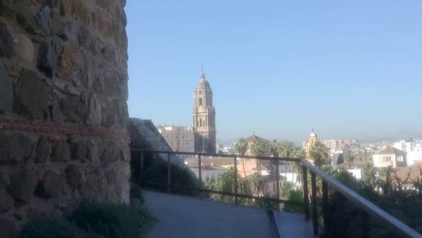 Malaga Cathedral from the Alcazaba walkway