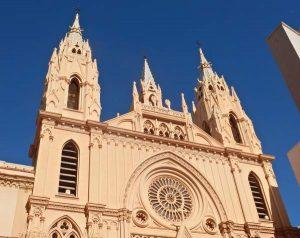 churches in Malaga facade at Iglesia del Sagrado Corazon