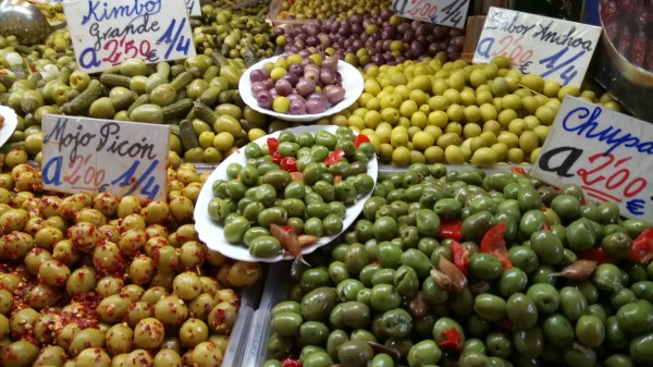 olives at indoor markets in Malaga