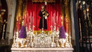 Close-up of Christ figure for Easter in Malaga