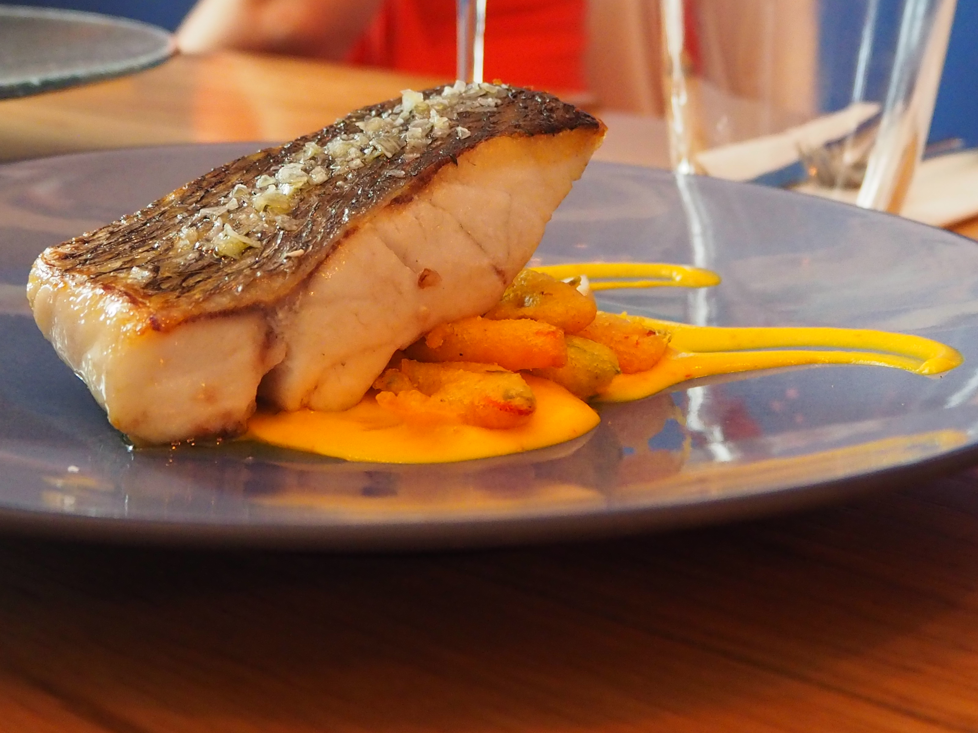Corvina with saffron sauce at Eboka