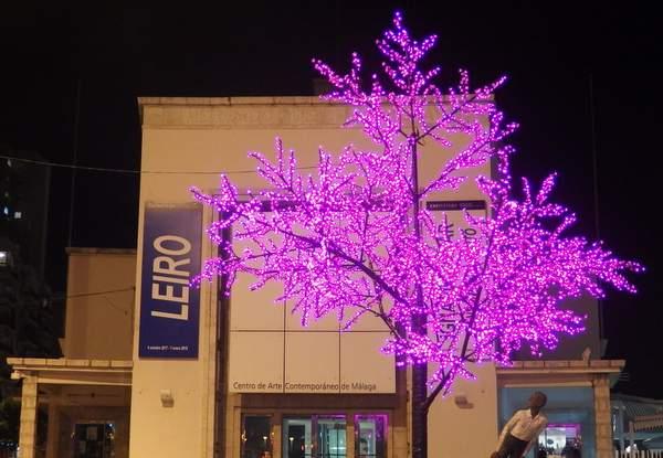 Malaga Christmas lights on a tree outside the CAC art museum