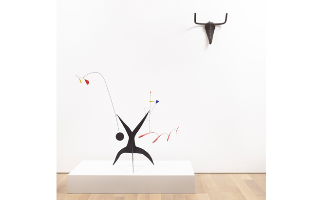 A Calder mobile and Picasso sculpture at an exhibition of art in Malaga in autumn 2019