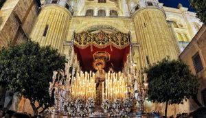 Throne leaving Cathedral at Easter in Malaga