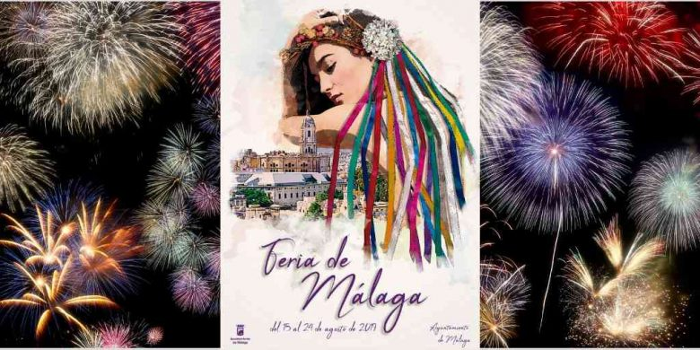 2019 Malaga fair poster in the centre with fireworks in the background