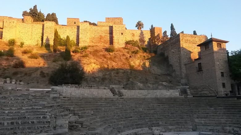 Roman theatre and Alcazaba in Malaga in the sunshine