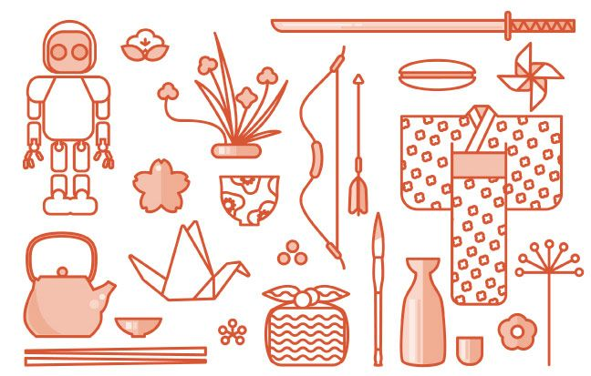 icons of typical Japanese objects for Japan week in Malaga in October