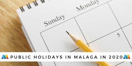 calendar image of public holidays in Malaga 2020