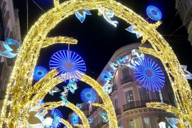 view of Calle Larios Malaga Christmas lights 2019