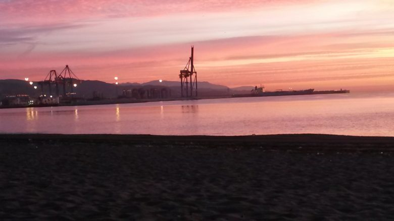 sunrise over the port, 1 of the great things to do in Malaga in December