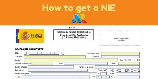 form for getting a NIE in Malaga