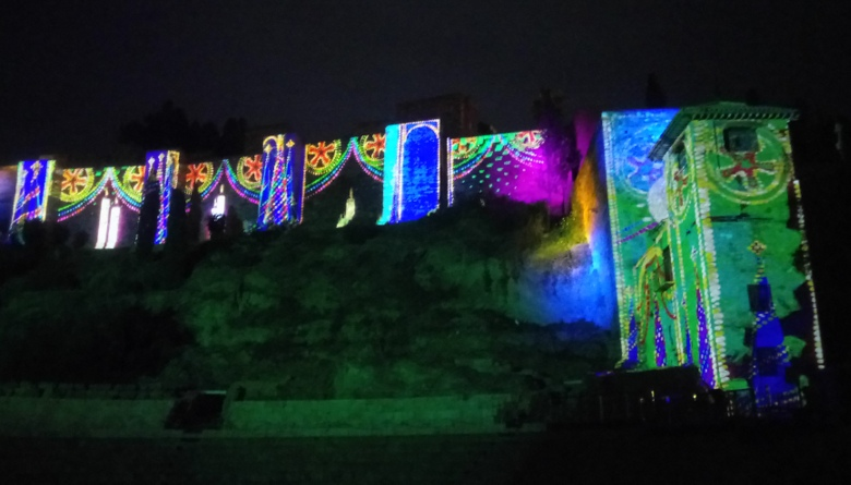 Video projected onto the Alcazaba as part of the  Malaga Christmas lights