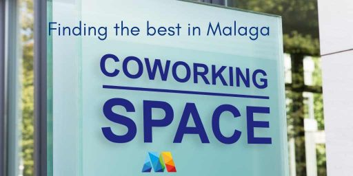 sign advertising a coworking space in Malaga