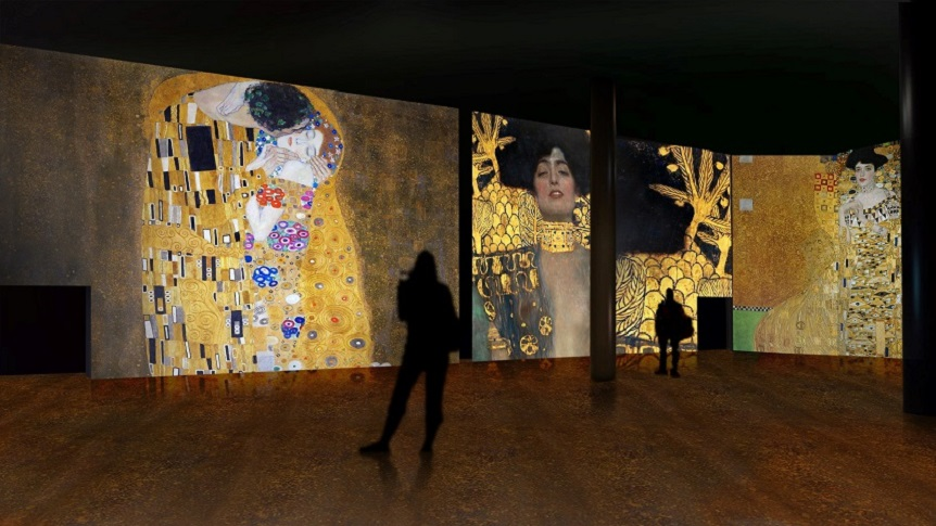 example of multi-media experience at Klimt exhibition Malaga