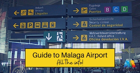 General view of signage at Malaga Airport