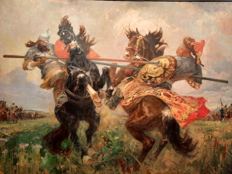 Duel between Peresvet and Chelubei by Kijail Avilov at the Russian Museum in Malaga