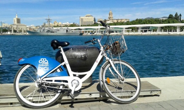 Malaga city rental bike on Muelle Uno