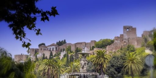 Alcazaba and fountain during autumn in Malaga