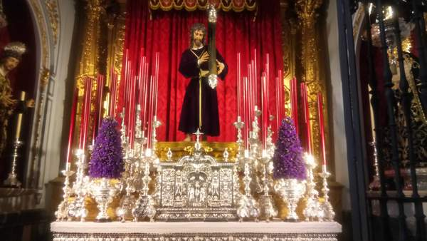 Close up of throne in Easter processions in Malaga