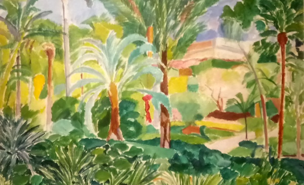 watercolour of botanical gardens in Malaga