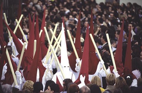 Nazarenos at Easter in Malaga