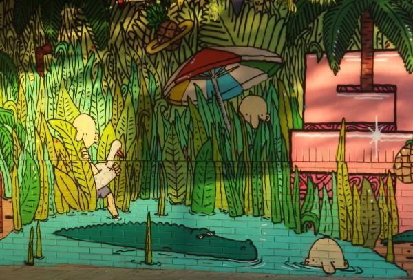 Crocodile street art in Malaga