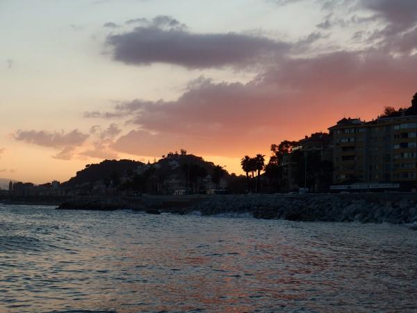 sunset over beaches in Malaga