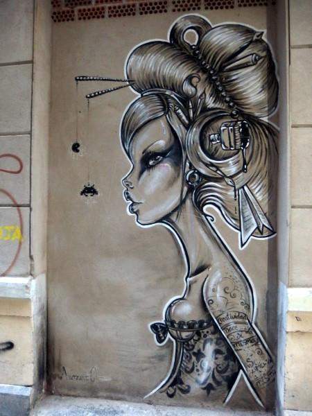 quirky street art in Malaga