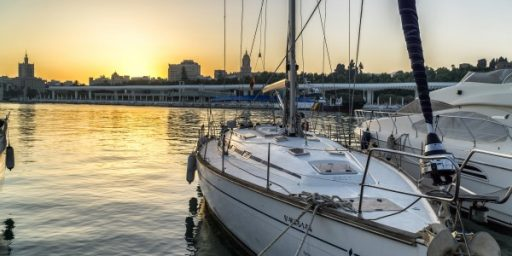 yachts in harbour at dusk during winter in Malaga